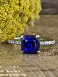 Blue sapphire engagement ring by ken + dana design