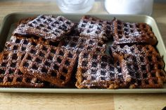 Succulent, homemade gingerbread waffles! Perfect for holiday breakfasts.
