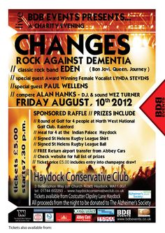 CHANGES - ROCK AGAINST DEMENTIA A Charity Evening to raise money for the Alzheimer's Society. Client: BDB Events. Poster Kevan R. Craft. Copyright © 2013 Kevan R. Craft