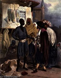 'The Slave Market at Ak-Hissar' by Theodore Leblanc (1800-1837)