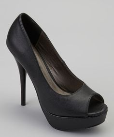 Take a look at the Black Peep-Toe Giselle Pump on #zulily today!