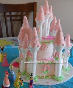 Homemade Princess Castle Birthday Cake: Our granddaughter Tessa is very much into princesses and castles.  When we saw the Wilton castle cake kit at the store she loved it and wanted a Princess