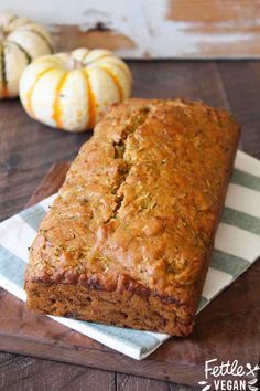 Healthier Pumpkin Zucchini Bread! Sweet, moist, packed with pumpkin + totally guilt-free. #vegan #recipe