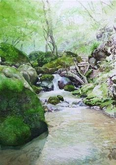 Watercolor landscape forest stream rocks moss