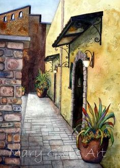 Architecture | Mary Gibbs Art Watercolor Landscape, Landscape Paintings, Watercolor Paintings, Landscapes, Porches, Building Painting, High School Art, Water Colors, Architectural Elements