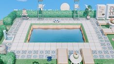 Animal Crossing: New Horizons Design Codes of the Week | Real Homes Animal Crossing Wild World, Animal Crossing Guide, Animal Crossing Villagers, Swimming Pool Designs, Swimming Pools, Horizon Pools, Motifs Animal, Island Design, Cute Animals