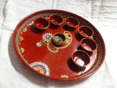 Arti Thali Decoration, Bridal Parties, Diwali, Tat, Decorative Plates, Tableware, Room, Crafts, Home Decor