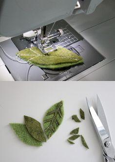 hojas fáciles en fieltro