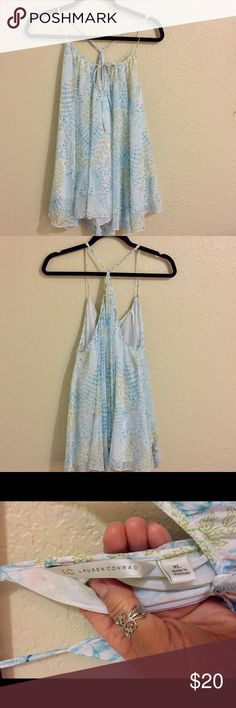 Flowy print tank White with beautiful blues , green & coral print , adjustable straps , sheer , but lined LC Lauren Conrad Tops Tank Tops