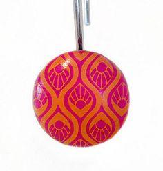 Lovely Shower Curtain Hooks. Boho Chic, Orange And Pink (Fuchsia) Set Of 12 Shower  Hooks