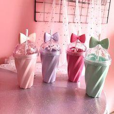 "Cute cartoon bow straw plastic cup SE10303 Coupon code ""cutekawaii"" for 10% off"