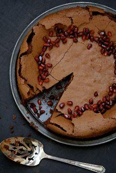 Flourless Chocolate-Pomegranate Cake