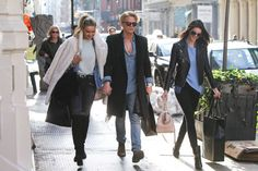 Gigi Hadid, Cody Simpson and Kendall Jenner with denim shirts.