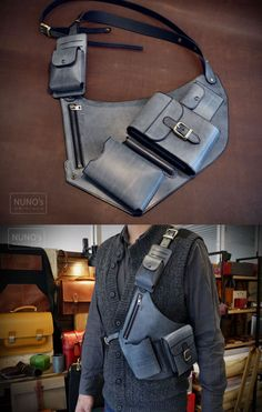 Grenades and Spare ammo and ancillaries (discreet) Leather Belt Bag, Leather Holster, Fashion Bags, Mens Fashion, Belt Pouch, Hip Bag, Leather Projects, Leather Accessories, Mode Style