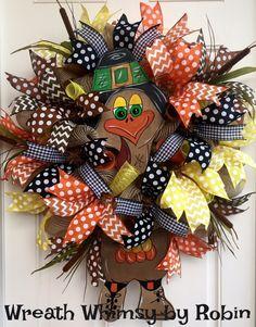 Fall Deco Mesh Thanksgiving Pilgram Turkey Wreath, Autumn Wreath, Front Door Wreath, Thanksgiving Decor by WreathWhimsybyRobin on Etsy