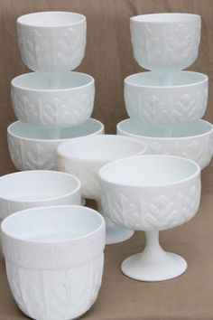 vintage milk glass, collection of oak leaf pattern glass compotes & planters Vintage Dishware, Vintage Bowls, Vintage Dishes, Vintage Pottery, Everyday Dishes, Fenton Glass, My Glass, Pendant Lamps, Pendant Lights