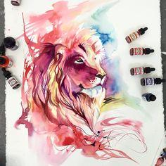 Lion Splash by Lucky978.deviantart.com on @DeviantArt