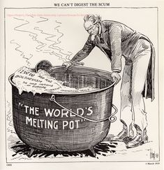 IMMIGRATION 1919: Anti-Immigration cartoon saying America can't digest the radical elements who were part of the immigration to the country. By inference, anyone with leftist leanings who favor radical action.