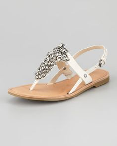 for the dancing!    Avy Jewel Thong Slingback Sandal, Light Cream by Vera Wang Lavender at Neiman Marcus.