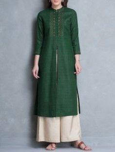 Green Mandarin Collar Thread Embroidered Matka Silk Kurta: