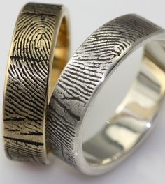 Fingerprint engagement rings and wedding bands are as unique as you things-i-didn-t-know-existed-but-am-glad-they-do Fingerprint Wedding Bands, Fingerprint Ring, Wedding Engagement, Engagement Rings, Gay Wedding Rings, Unusual Wedding Rings, Just In Case, Dream Wedding, Wedding Shit