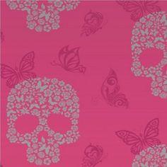 Muriva Skulls Bird Butterfly Motif Wallpaper Pink J21803