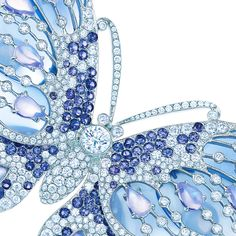 Butterfly brooch in platinum with moonstones, Montana sapphires, blue chalcedony and diamonds. #TiffanyPinterest #TiffanyBlueBook