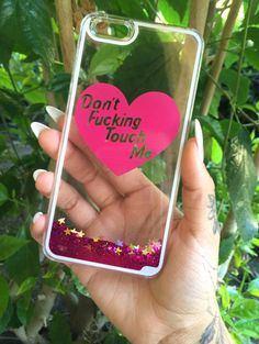 """""""Dont Fucking Touch Me"""" Glitter Waterfall iPhone Case"""