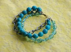 OOAK Sky Blue Bead and Chain  Bracelet: Sky Blue Beads, Translucent Sky Blue Bead and Chain Bracelet. $19.95, via Etsy.