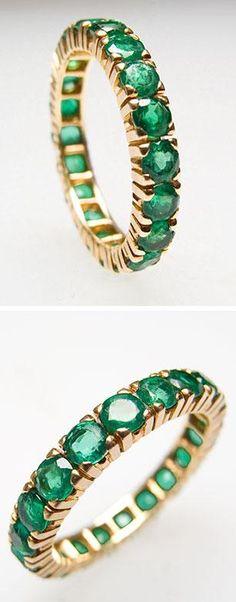 Estate  Emerald Eternity Style Band Ring 18K Gold./NyRocks/ Luxury Emeralds