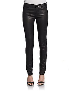 Mixed-Media Leather Jeans SAKS OFF 5TH VINCE