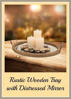 Love this wooden tray with candles and stones. #homedecor #rusticdecor #ad