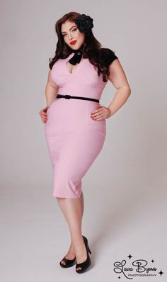 Pinup Girl plus size pink belted wiggle dress 2010