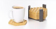 Posavasos de madera grabado Ocre. Set 6 Unidades de Objects by MEDIO por DaWanda.com