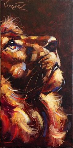 """CONTEMPORARY LION PAINTING in OILS by OLGA WAGNER"" original fine art by Olga Wagner"