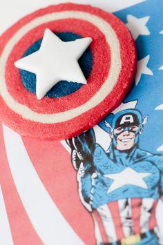 Captain America shield cookies with full DIY tutorial