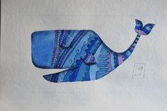 La #balena #blu, #illustrazione #acquarello di #LabLiu su #Etsy
