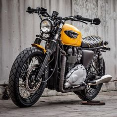"""Our latest is the """"Muddy Wasp"""", black and yellow. Dig it guys? #macco #triumph #triumph_uk #triumphofficial #t100 #bonneville #thruxton #scrambler #caferacer #tracker #streettracker #lifestyle #loveforbikes #maccomotors#LTmoto"""