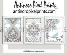 Ikat Blues Tans Khakis Grey Ikat Bird by antinoropixelprints