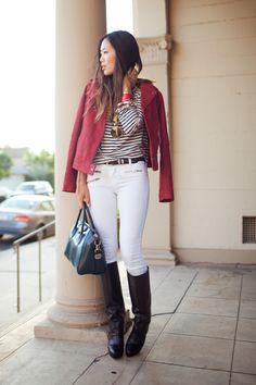 Jeans Branco + Listras + Blazer Colorido