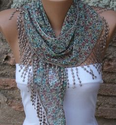 Multicolor Scarf  Cotton Scarf  Headband Necklace Cowl by fatwoman, $15.00
