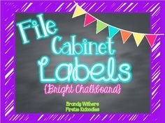 These bright, colorful labels are just the thing to help spice up and beautify your filing cabinets.  I added these to my filing cabinets this year and they helped as a great, quick visual of which drawer holds what. Just add some magnet tape or dots to the corners and they stick really well.Colors included are:aquabright pinkbright purplebright yellowlime greenThere are monthly labels and a variety of specific subject labels.