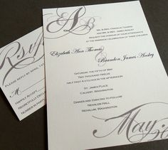 Romantic Script with Monogram  Wedding Invitations and by dearemma, $2.00