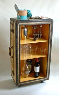 Trunk Repurposed Bar included in these 20 DIY Vintage Suitcase Projects and Repurposed Suitcases. Create unique home decor using repurposed old suitcases!