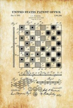 A patent print poster for a 1923 Checker and Chess Board invented by J. F. Truskoski. The patent was issued by the United States Patent Office on January 9, 1923. This game board patent can be used…MoreMore #PatentArtVintage