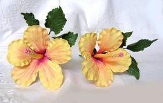 LEMON SUNSHINE HIBISCUS Gum Paste Flowers / Hand by lenabender48, $11.50