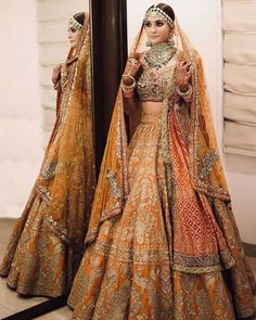 Fresh and Some Trendy Bridal Lehenga Ideas for this summer wedding seasonYou can find indian wedding outfits and mo. Indian Bridal Outfits, Indian Bridal Fashion, Indian Bridal Wear, Indian Designer Outfits, Indian Wedding Lehenga, Indian Lehenga, Indian Gowns, Indian Weddings, Sabyasachi Lehenga Bridal