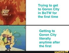 Trying to get to Goron City in BoTW for the first time Getting to Goron City literally anytime after the first - iFunny :) Legend Of Zelda Memes, The Legend Of Zelda, Legend Of Zelda Breath, Video Game Memes, Video Games, Link Botw, Link Zelda, Breath Of The Wild, Games