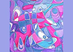 Original Art Purple Blue Turquoise Black Inks On Paper Abstract . Greeting Card featuring the painting Picasso's Whisper by Expressionistart studio Priscilla Batzell