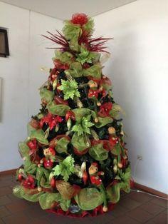 arboles de navidad decorados con cintas jpg